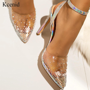 Image 1 - Kcenid Fashion rhinestone PVC transparent shoes stilettos high heels sandals women pointed toe party silver party wedding shoes