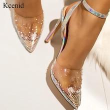 Kcenid 패션 라인 석 PVC 투명 신발 stilettos 하이힐 샌들 여성 지적 발가락 파티 실버 파티 결혼식 신발