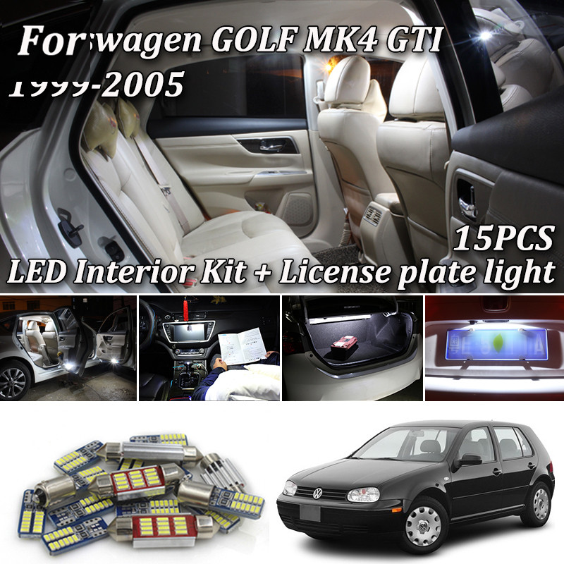 15pcs Canbus LED Bulb For 1999-2005 Volkswagen VW MK4 Golf 4 GTI LED Interior Lights Accessories Replacement Package Kit White image