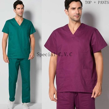 Men's Scrubs Set Cotton Doctor Uniform V-neck Short Sleeve Scrub Tops Elastic Waistline Scrub Pants Nurse Workwear Vet Clothing