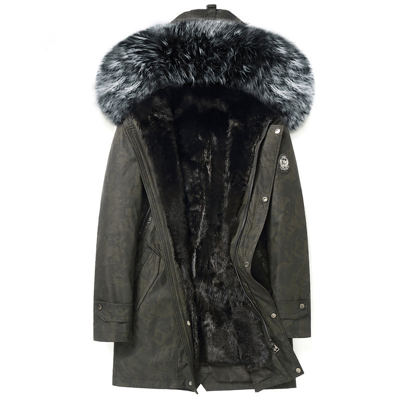 Real Fur Coat Winter Jacket Men Natural Mink Fur Liner Warm Parka Men Big Fox Fur Collar Long Coats Plus Size 5xl Chaqueta Y1613
