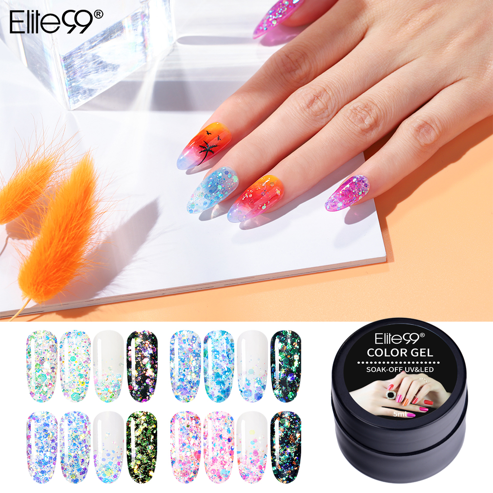 Elite99 5ML Jazzy Glitter Gel Polish Colorful Sequins Soak Off UV Gel Nail Polish Hybrid Nails Salon DIY Nail Art Gel Varnish
