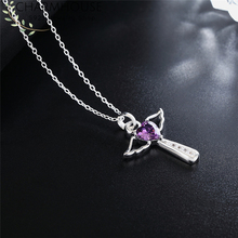 Charmhouse 925 Sterling Silver Necklaces For Women Angel Wing Cross Pendant & Necklace with Zirconia Wedding Bridal Jewelry equte psiw264 stylish 925 sterling silver necklace w angel wing pendant for women silver 18