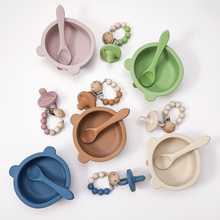 Eco-Friendly Silicone Baby Tableware High Quality Baby Silicone Spoon BPA Free Baby Silicone Animal Shaped Bowl