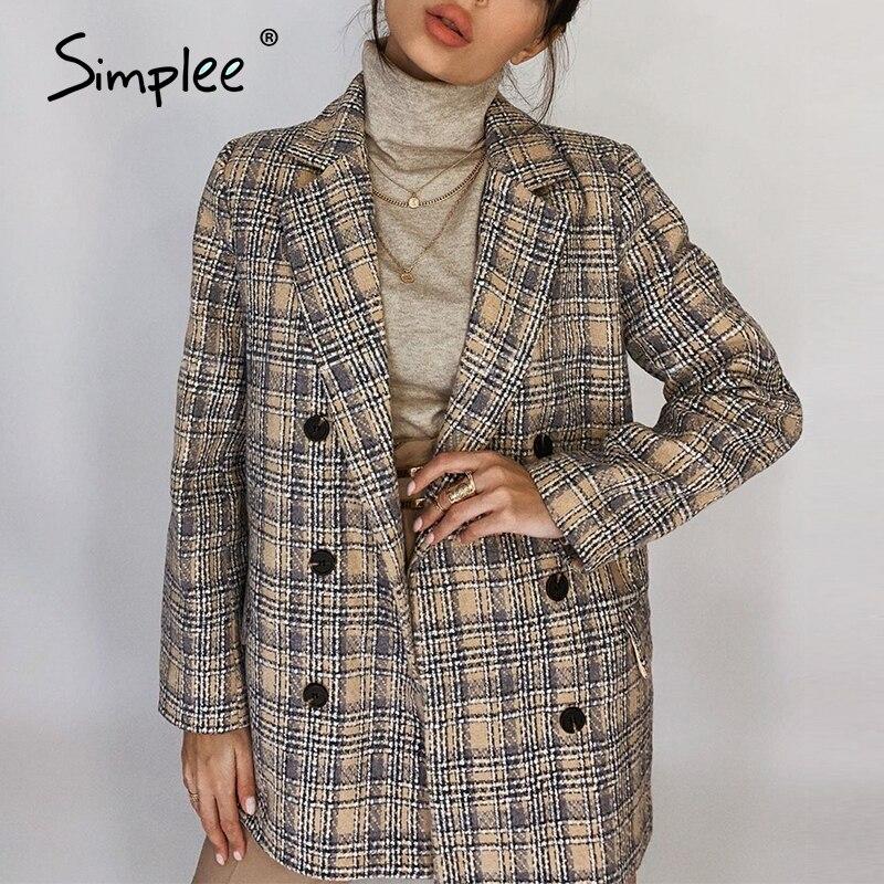 Simplee элегантный осенне зимний клетчатый женский пиджак, повседневный твидовый пиджак с длинным рукавом, короткий офисный женский пиджак с карманом|Пиджаки|   | АлиЭкспресс - Женские пиджаки