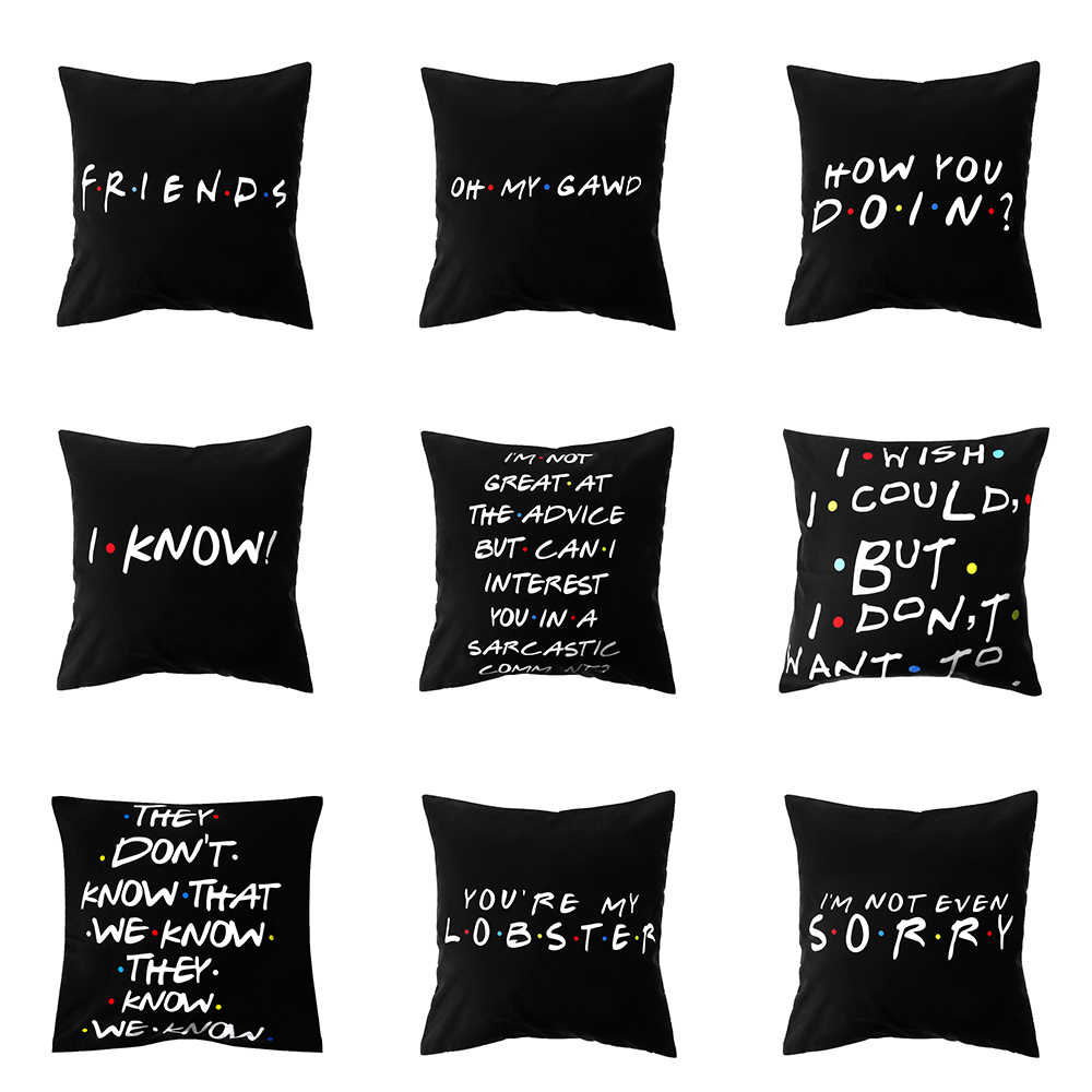 "9Styles 18""x18"" Classic Friends TV Show Pillow Cases Funny Printed Black Pillow Covers Polyester"