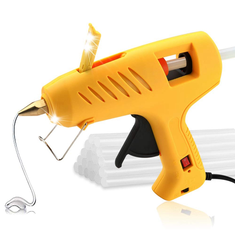Hot Glue Tool With LED Lights,60/100W Full Size Dual Power High Temp Heavy Duty Melt Glue Tool Kit For DIY, Arts & Crafts Use,Ch