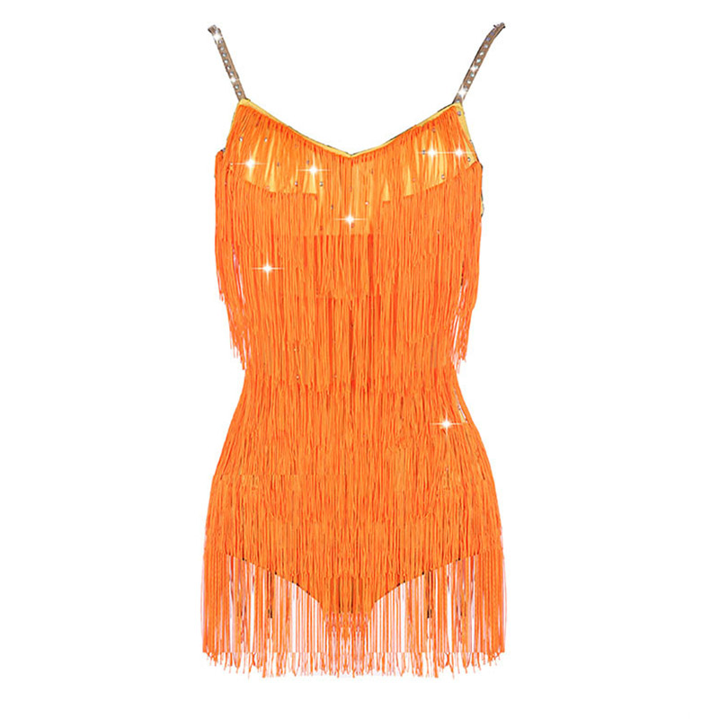 Latin Dance Dress Rumba Cha Cha Competition Performance Wear Ladies Orange Tassel Shiny Rhinestones Sexy Backless Dresses DN3540