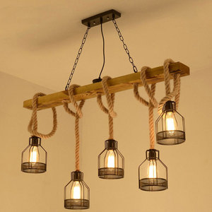 Loft pendant lamp dining room restaurant cafe living room hemp rope wood ceiling chandelier lighting vintage droplight