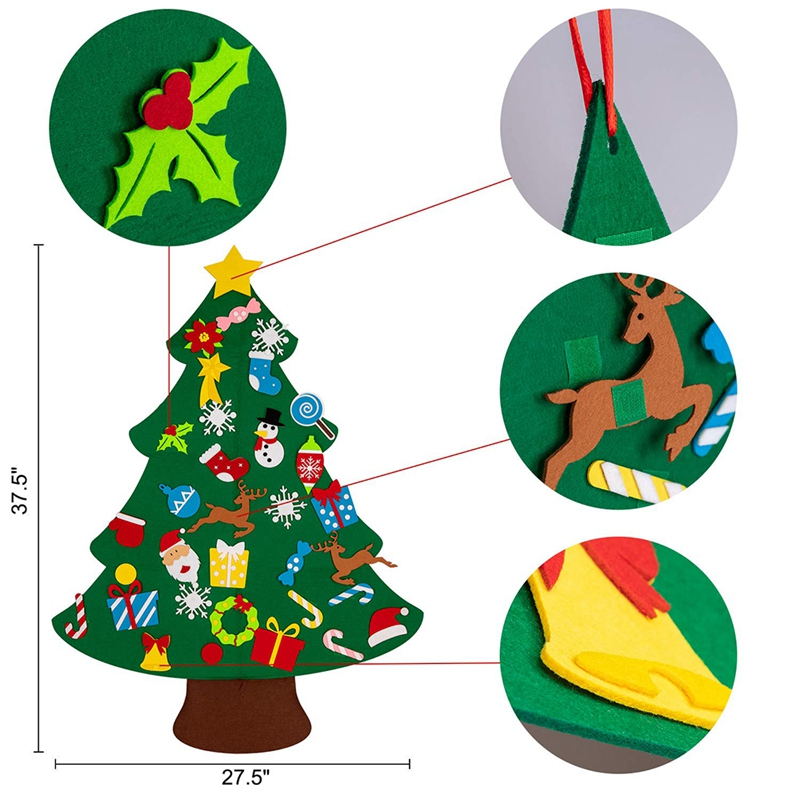 Lanbowo 33pcs Felt Christmas Tree DIY Set Xmas Wall Hanging Ornament Decoration for Home