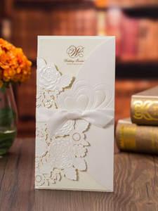 Wedding-Invitations-Card Envelope Laser-Cut Sample Custom Gold White Personalized Printable