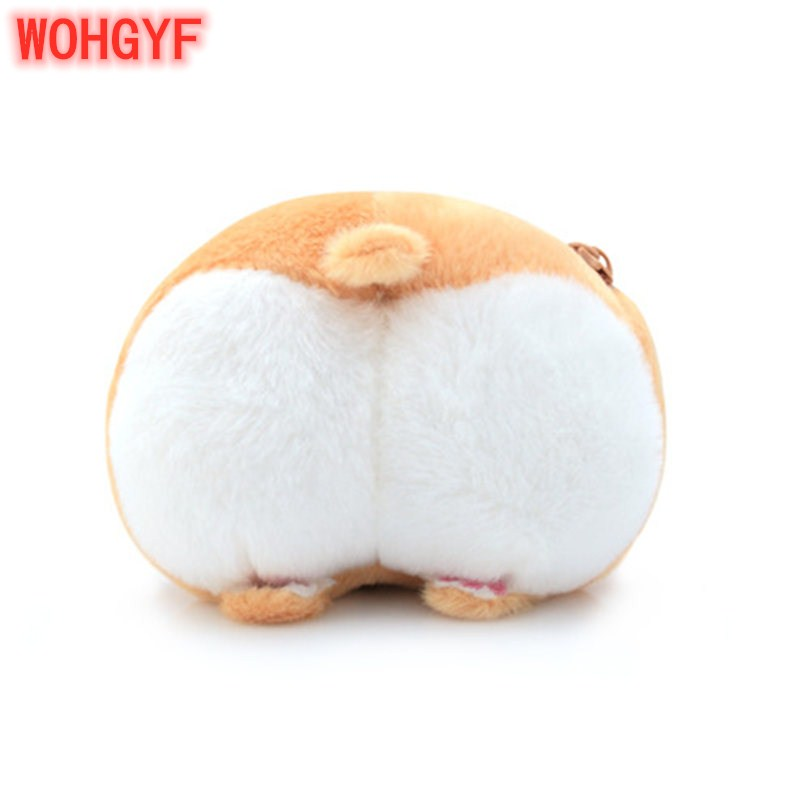 1pc 13cm*11cm Plush Cute Corgi Buttocks Coin Bag Sexy Corgi Bottom Coin Plush Purse Animals Wallet Gift For Kids & Girls