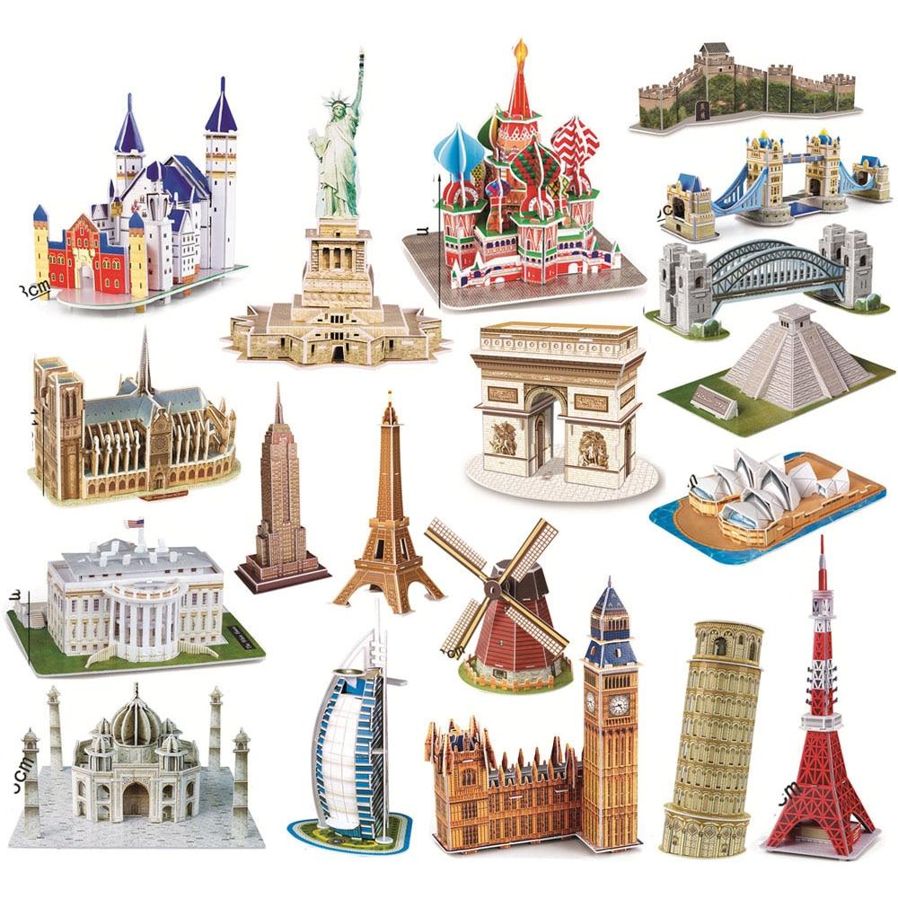 EVA 3D Jigsaw Puzzle World Famous Architectural 3D Puzzle Miniature House Building Model Construction Toys Christmas Gift
