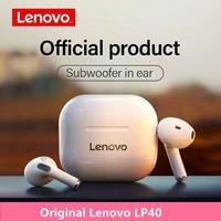 Lenovo-auriculares inalámbricos TWS, cascos con Bluetooth 5,0, estéreo Dual, MINI REDUCCIÓN DE bajos, Control táctil, Larga modo de reposo, LP40, nuevos y originales