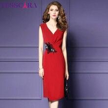 TESSCARA женское элегантное офисное платье-карандаш Festa Женская Высококачественная Женская одежда для вечеринки с v-образным вырезом дизайнерское платье больших размеров S-4XL