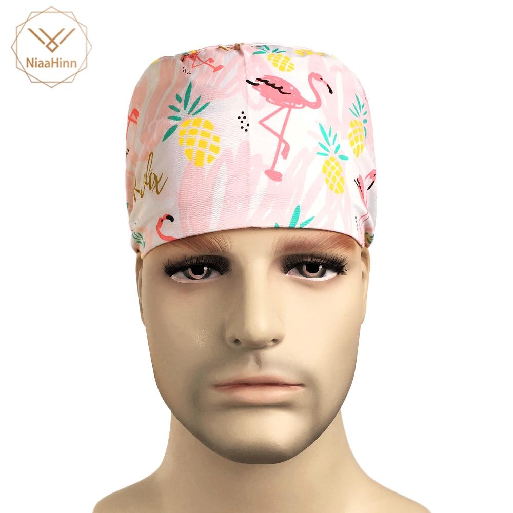 Pineapple Flamingo Printing Nurse Surgical Cap Scrub Caps Medical Accessories Cotton Sweatband Tieback Chef Waitress Work Hats