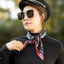 Женский шарф, модный весенне-летний Шелковый квадратный шарф для девочек, Цветочный платок, Леопардовый шифоновый шарф, аксессуары для шеи