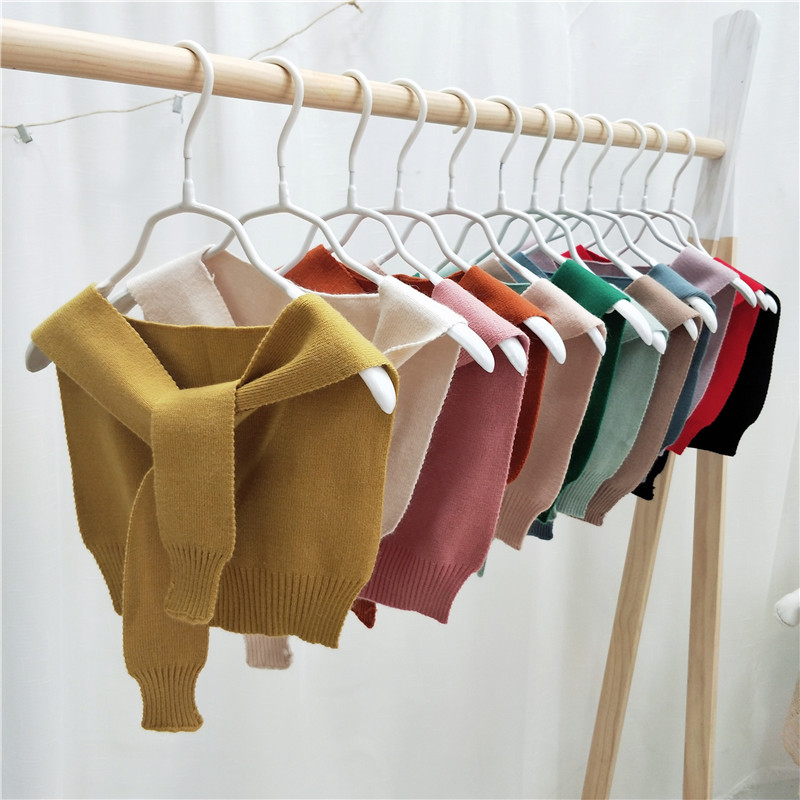 Korean-style Knitted Outdoor Solid Color Small Shawl Women's False Collar Knot Bandage Cloth Air-conditioned Room Shawl Shoulder