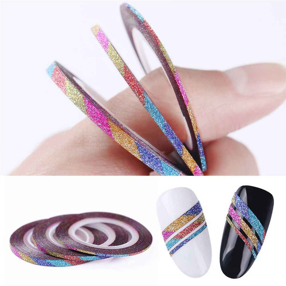 3 stks/set Nail Striping Tape Line Matte Coil Regenboog Glitter Frosted 1mm 2mm 3mm Lijm Nail Art transfer Stickers