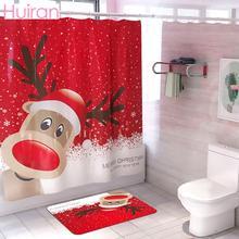 HUIRAN Christmas Bathroom Shower Curtain Waterproof Decor Merry Decorations for Home 2019 Xmas Navidad Natal