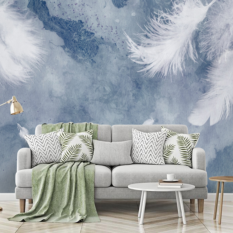 Hipster Northern European-Style TV Backdrop Wallpaper Living Room Sofa Hand-Painted Feather Mural Modern Minimalist Bedroom Wall