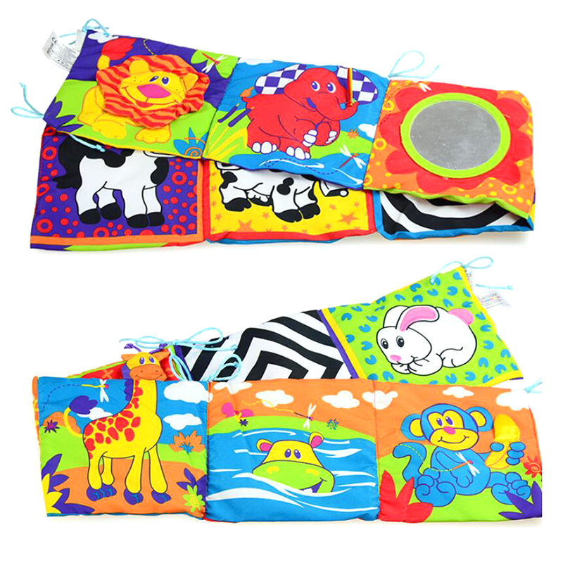 Infant multi-touch fun 3d bed surrounding cloth book animal world cloth book with ring paper safety mirror educational toys