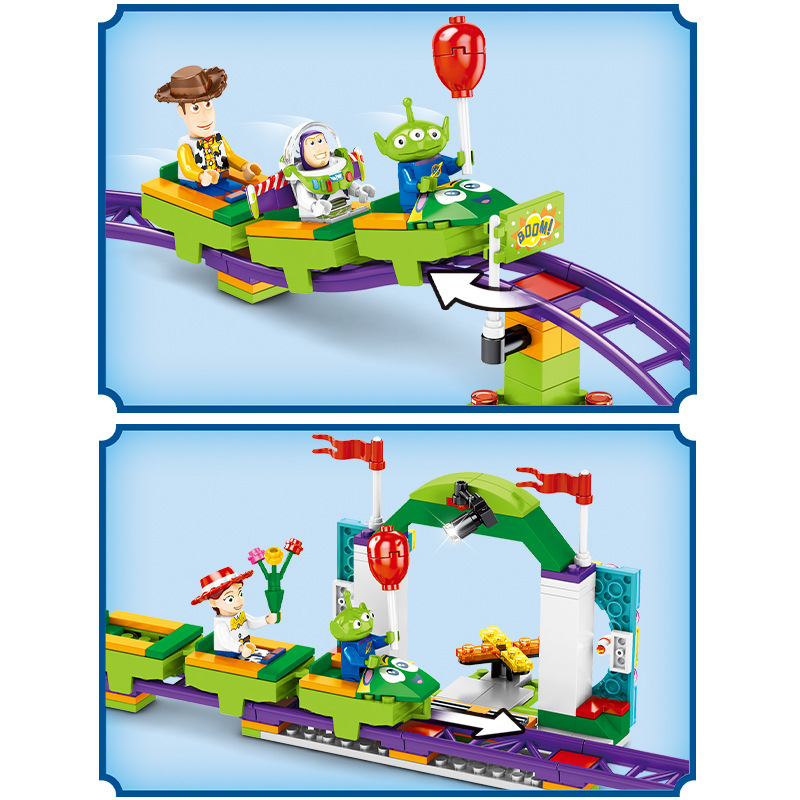 Image 3 - Toys Story 4 Movie Carnival roller coaster 324PCS train building block children toys gift 6697 contain Anime figures IN STOCKBlocks   -