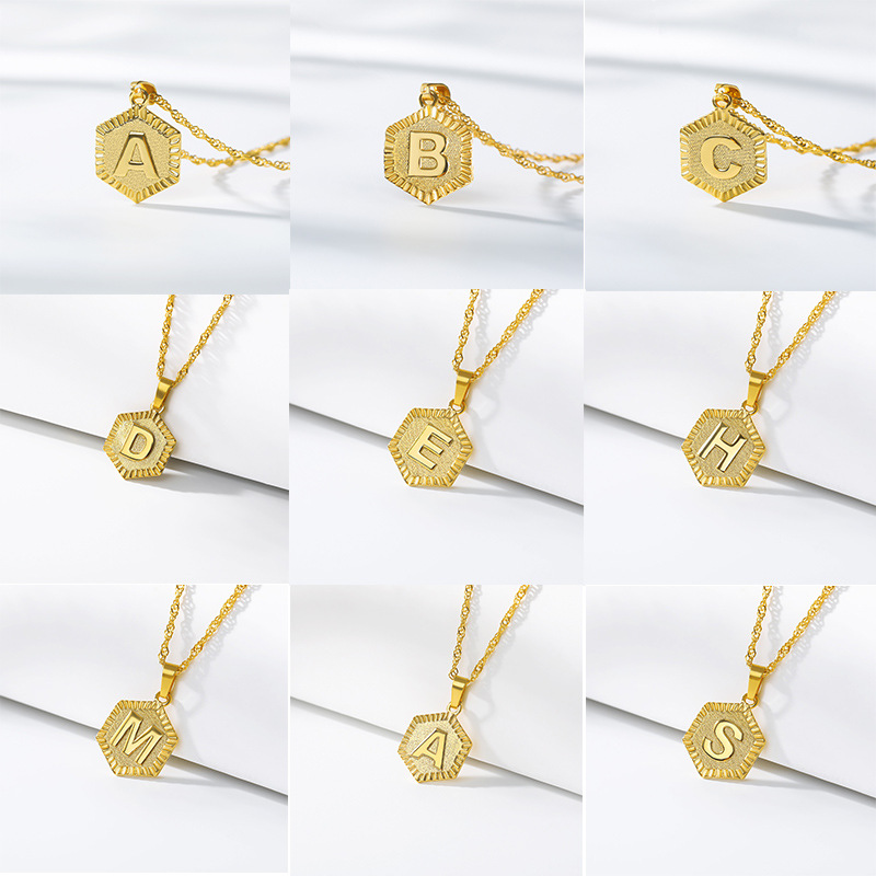 A-Z Letter Hexagon Initial Anklets For Women Gold Stainless Steel Ankle Bracelet On The Leg Female Foot Chain Anklet Jewelry