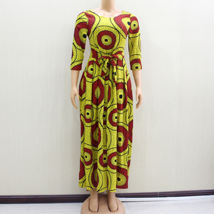 Image 1 - 2020 アフリカ Dashiki エレガントなパーティー V ネック女性春現代女性のドレスフィットとフレア固体ナチュラルウエストドレス