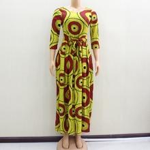 2020 africain Dashiki élégant parti col en v femmes printemps moderne dame robes ajustement et Flare solide naturel taille robe