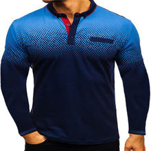 3D Digital Printed Mens Polos Gradient Long Sleeve Male Tees Autumn Lapel Neck Casual Clothing