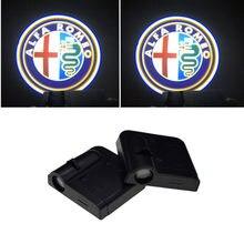 2 uds inalámbrico lámpara de bienvenida Led Puerta de coche Proyector láser proyección de luz con logotipo para Alfa Romeo 5 147 de 159 GT Giulietta 156 146 4C