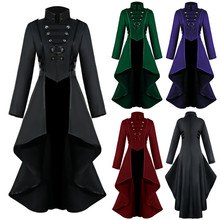 Women Gothic Steampunk Jacket Button Lace Corset Halloween Costume Coat Tailcoat Vintage Style S-3XL