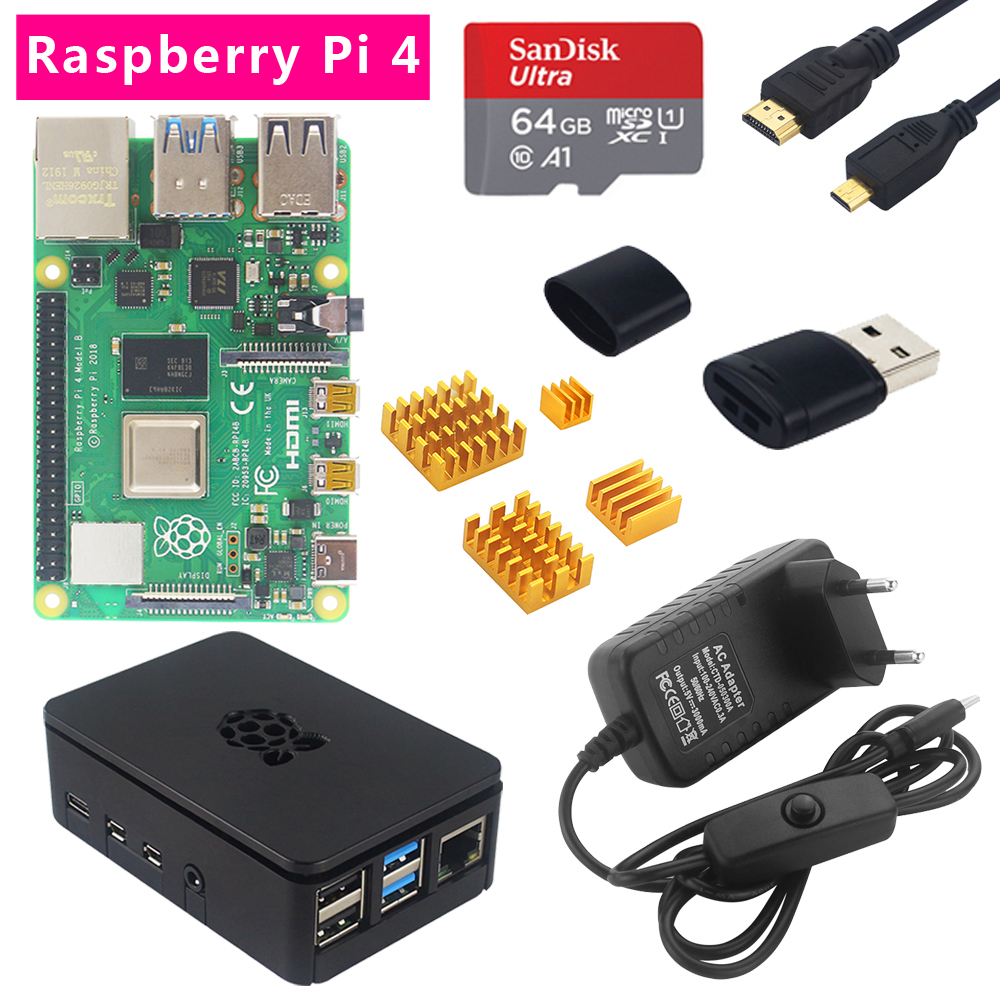 Raspberry Pi 4 Model B 2G/4G RAM + Heatsink + ABS Case + Switch Power Plug + HDMI +32 /64 SD Card + Card Reader For RPi 4 4B