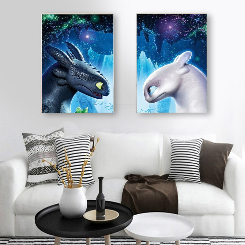 Canvas Poster Movie How To Train Your Dragon 3 The Hidden World Toothless Night Fury Picture Print Home Decor No Frame Painting Calligraphy Aliexpress