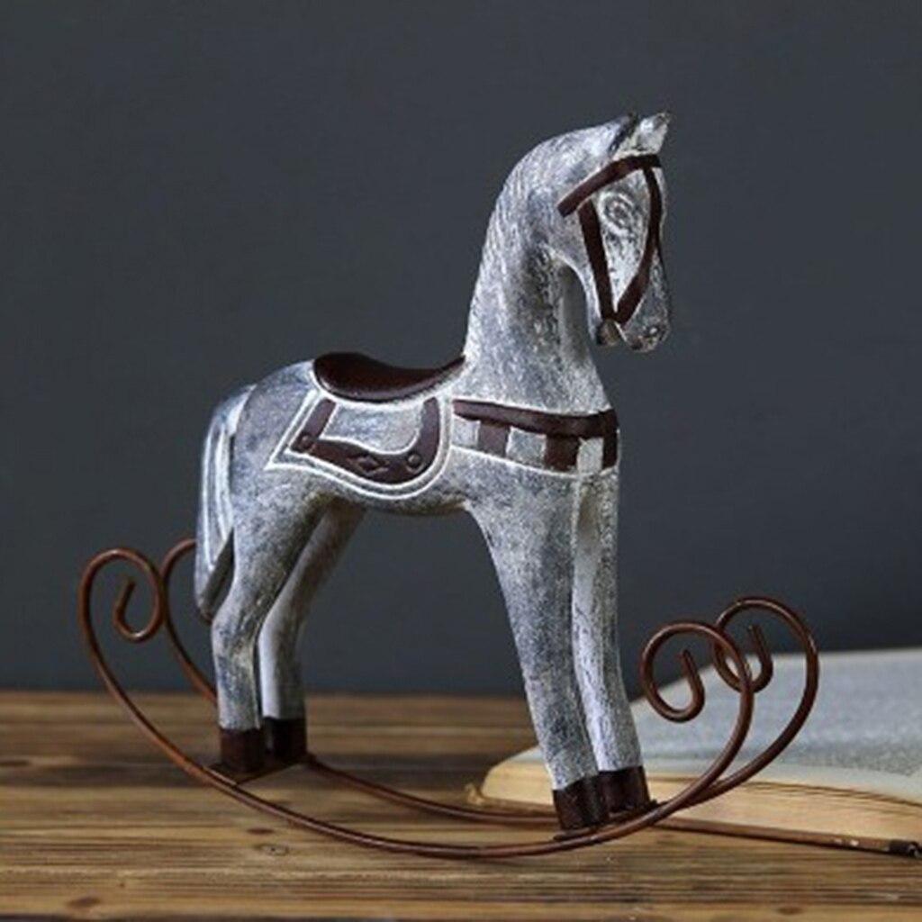 Artesanato de madeira cavalo de balanço estatueta casa decoração do escritório artigos de decoração de madeira adorno artesanato cavalo estátua de balanço cavalo