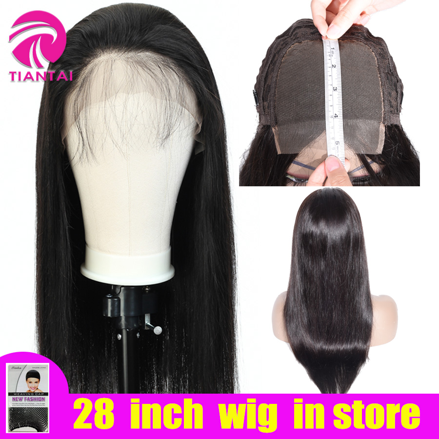 28 Inch Wig Brazilian 4x4 Closure Wig 100 Human Hair Lace Wigs Long Straight Remy  Lace Closure Wigs For Woman PrePlucked TIANTA