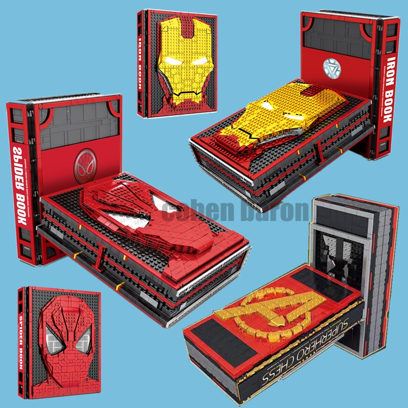 New Iron Man Spiderman Figures Collections Batman CHESS Display Book Fit Legoings Marvel Avengers Building Block Brick Toy Gift