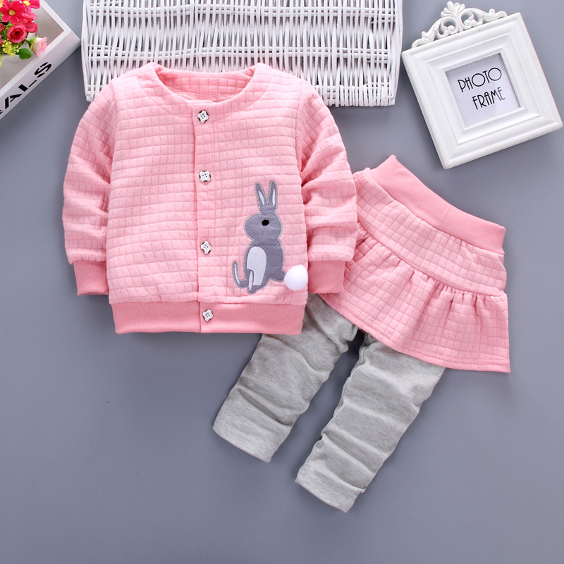 Baby Girl Clothes Spring And Autumn Cotton Thick Warm Set Casual Cartoon Cute Rabbit Set Baby Long-sleeved Baby Girl Two-piece