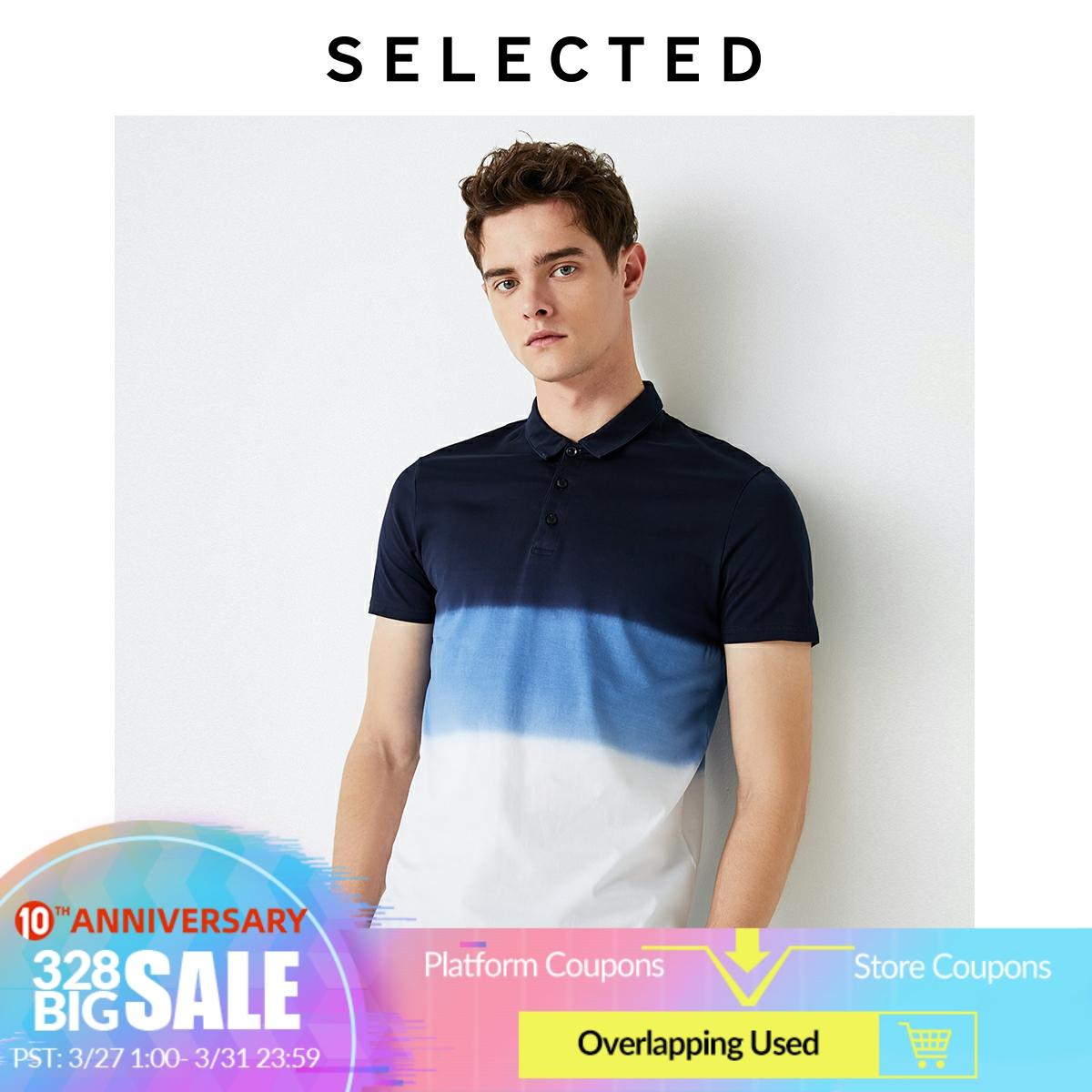 SELECTED Cotton Gradient Turn-down Collar Short-sleeved Poloshirt S|419306513
