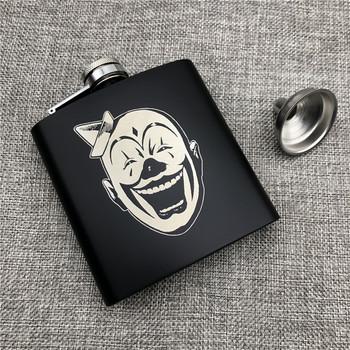 Personalizacja Joker rosyjski Hip Flask 6 Oz 170ml 304 ze stali nierdzewnej spersonalizowane alkohol whekey wódka Flask gadżety dla człowieka tanie i dobre opinie Alalinong CN (pochodzenie) Metal BL001 Mini 304 Stainless Steel Funnel x 1 Black 10cmx9 2cm