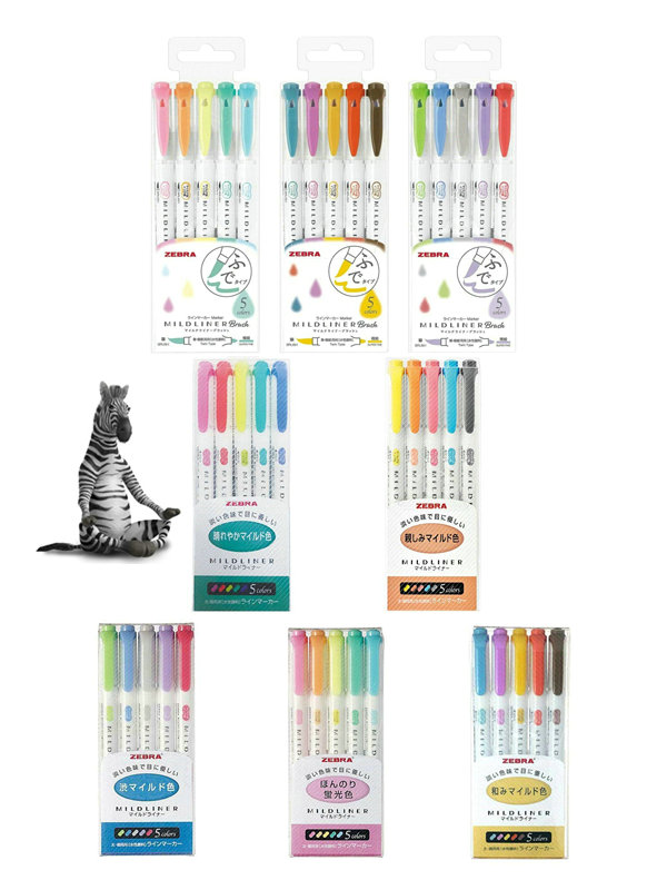 Pack Of 8 Zebra 25 Colors Double-Sided Highlighter Mildliner Pens Plus NEW 15 Colors Mildliner Brushes Value Set