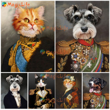 Gato do animal de estimação do vintage cão retrato nórdico cartaz guerreiro parede fotos para sala estar decoração casa arte da parede pintura da lona sem moldura