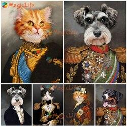 Винтажный портрет кошки собаки постер в скандинавском стиле воин настенные картины для гостиной домашний декор настенная Картина на холст...