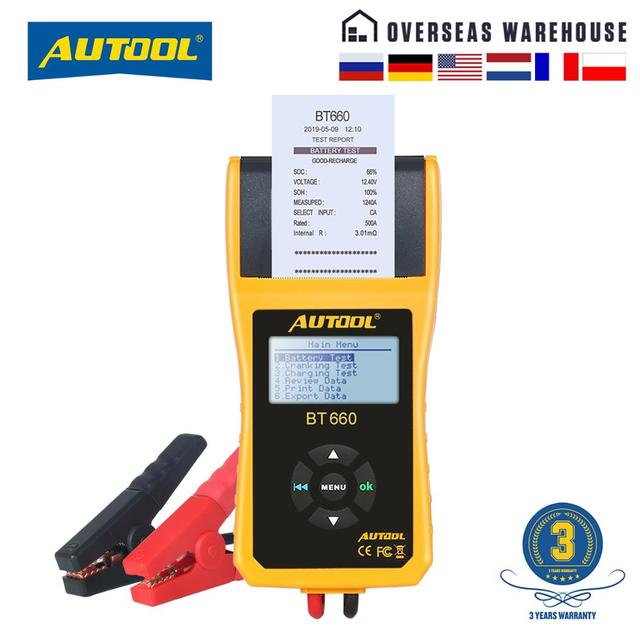 AUTOOL Car Battery Tester Analyzer With Printer 12V Digital Repair Workshop Auto Battery CCA Portable Diagnosis Tool Free Paper