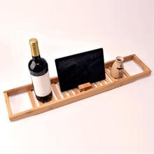 Бамбуковый нескользящий лоток для ванной регулируемый стеллаж для ванной комнаты полка для ванной комнаты держатель для винной книги держатель для хранения Oganizer