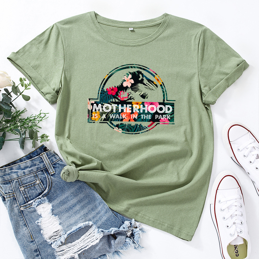 JFUNCY Casual Cotton T-shirt Women T Shirt Motherhood Letter Printed Oversized Woman Harajuku Graphic Tees Tops 19