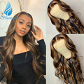 SMD Highlight Color 13x4 Lace Front Human Hair Wigs with Baby Hair 180% Density Brazilian Virgin Hair Glueless Lace Front Wigs
