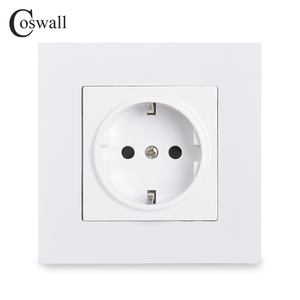 Coswall Simple Style PC Panel EU Russia Spain Power Wall Socket Grounded With Children Protective Door White Black Grey Gold 16A