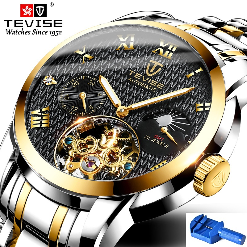 Automatic Mechanical Watch TEVISE T9005c Tourbillon 22 Jewels Watch Man Moon Phase Luminous Hands Waterproof Clock with Tool Box